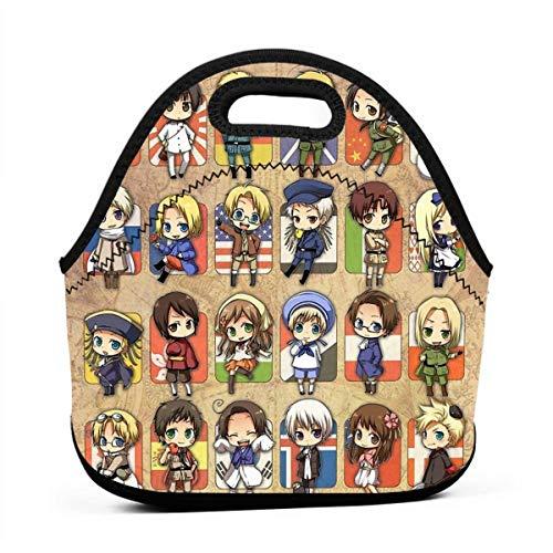 Hetalia Group Men Women Kids Insulated Lunch Bag Tote Reusable Lunch Box For Work Picnic School