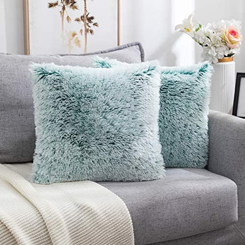 Nanhiking Decorative Faux Fur Throw Pillow Covers Square Throw Pillow Luxury Soft Cushion Cover product image