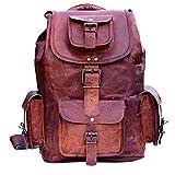 SALE! Shakun Handmade Vintage Unisex Pure Leather Backpack Canvas Rucksack Satchel Hiking Backpack