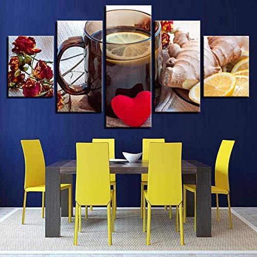 MMLFY 5 Canvas foto's HD Prints Wooncultuur gember 5 stuks muurkunst citroen thee modulaire afbeeldingen bloem canvas schilderij voor woonkamer kunstwerk poster
