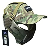 NO B Tactical Foldable Mesh Mask with Ear Protection for Airsoft Paintball with Adjustable Baseball Cap (CAMO)