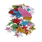 Baoblaze Lot de 110pcs Autocollant Paillettes Mousse Etoile Coeur Décor pour Mur Chambre Enfant