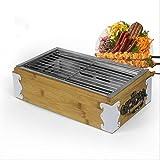 M-YN Holzkohlegrills BBQ Grill, Grill im Freien, Holzkohlengrill, Edelstahlgrill, Mehrzweckgrill, 33,5 cm * 18,5 cm * 7,5 cm (2,10 Kg) (Material : Wooden Oven)