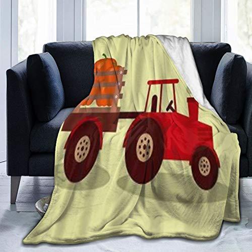 KOSALAER Bedding Manta,Granja de Tractor de camión de Vegetales de Calabaza,Mantas cálidas de Sala de Estar/Dormitorio Ultra Suaves para Todas Las Estaciones