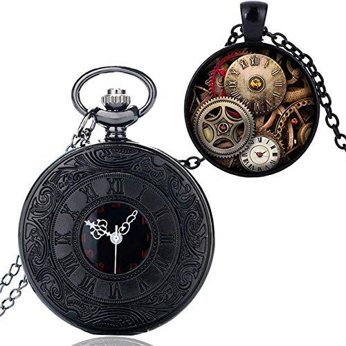J-Love Reloj de Bolsillo de Cuarzo con número Romano Negro, Colgante, Collar, Conjunto de Regalos para Hombres, Reloj, Regalo de cumpleaños de Navidad