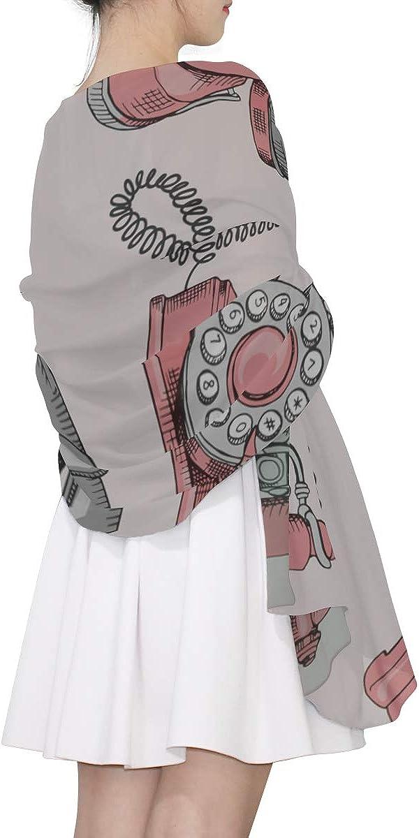 Cool Scarf Vintage Nostalgic Telephone Colorful Scarf Fashion Scarf Lightweight Lightweight Print Scarves Shawl Scarf Wrap Scarf For Men Lightweight
