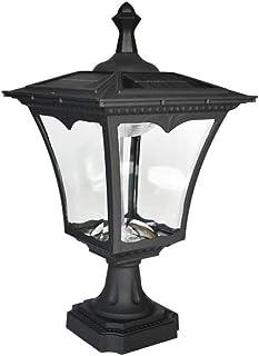 WZHZJ Garden Glass Lamp Vintage Square Outdoor Waterproof Die-casting Aluminum Column Head Lamp Door Street Exterior Decor...