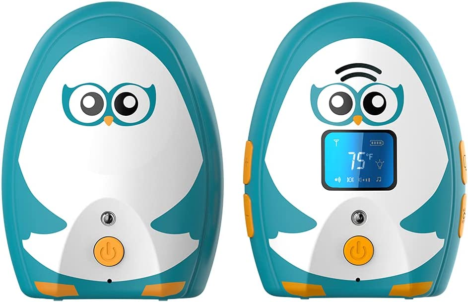 TimeFlys Audio Baby Monitor Mustang OL,Two-Way Talk, Long Range up to 1000 ft, Rechargeable Battery, Temperature Monitoring and Warning, Lullabies, Vibration, LCD Display, Night Light