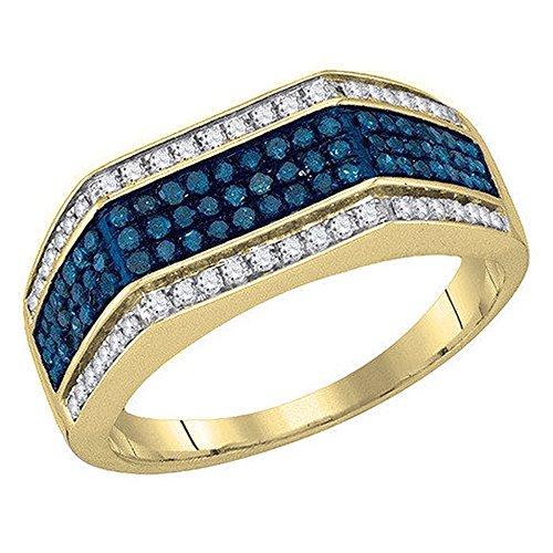 DazzlingRock Collection 0,80Carat (quilate) 10K Oro Redondo Blanco y Azul Diamante Hombres de Micro Pave Mano Derecha Anillo de Moda 3/4CT