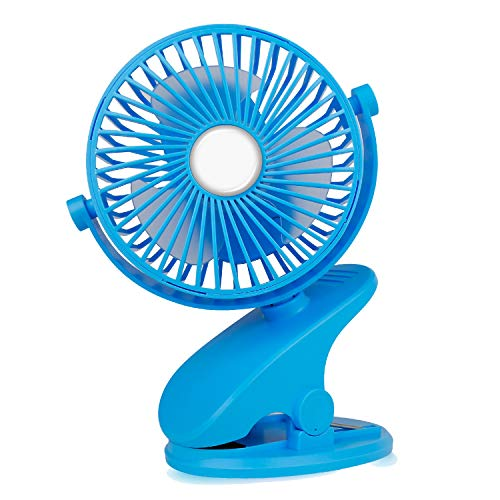 Mieuxbuck Clip on fan, Stroller Fan for Baby, Mini USB Portable Fan for Bed, Camping, Travelling with Rechargeable 2500mA Battery 360° Rotation, Blue
