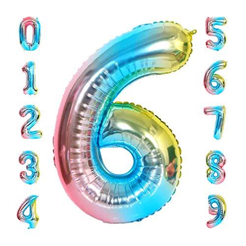 vita dennis Luftballons Zahlen,Folienballon Zahl 100cm/40 Inch XXL Zahlen-Ballons,Zahlenballons mit Aufhängeöse Party Geschenk Dekoration Geburtstagsdeko Luftballons(Zahl 6