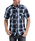 Coevals Club Men's Western Button Down Cowboy Short Sleeve Casual Shirt with Pearl Snap (Black & Gray #9, M)