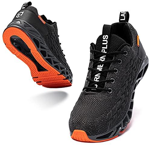 LARNMERN Sneakers Uomo Donna Sportive Running Respirabile Antiscivolo Shoe Arancione 41