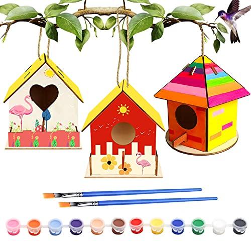 Huahuanghui 3 Stück DIY Vogelhaus Kit für Kinder,bastelset Kinder,vogelhaus bausatz,holzbretter zum Bauen,Enthalten 12 Farben und 2 Pinsel, Vogelhaus Bausatz Kinder