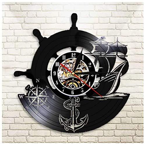 Record retrò Marina militare della nave dell'ancora Orologio in Vinile Movimento al Quarzo Silenzioso Handmade NeroCreativo Decorativo da Parete a Muro Mechanical Art Decor 12pollice(Niente luci)
