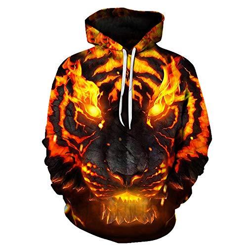 YLSMN Hoodie-Flammentier der Strickjacke des Druckpaares 3D mit Kapuze XL Jungen Mädchen Hoodie 3D Print Pullover Sweatshirts mit Kapuze XL