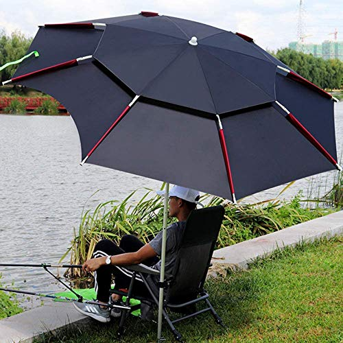 Sombrilla de pesca al aire libre, Sombrilla Sombrilla de patio, Parasol a prueba de lluvia de doble capa ajustable de 360 ° Sombrilla plegable Sombrilla anti-ultravioleta Sombrilla de playa,Negro,2.4M