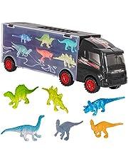 m zimoon dinosaurus vrachtwagen, kinderen dinosaurus auto transport vrachtwagen speelgoed met 12 stuks mini plastic dinosaurussen educatief speelgoed auto's voor jongens meisjes