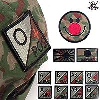 ミリタリーワッペン エンブレム JSD カラー 自衛隊 サバゲー 装備 迷彩 服 BDU ジャケット MA-1 アップリケ 血液型 (JSD 血液型 AB/RH)