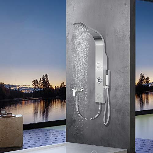 Elbe Duschpaneel ohne Armatur, 2 x Massagedüsen, Regendusche und Handbrause, Duschsystem aus gebürstetes Edelstahl