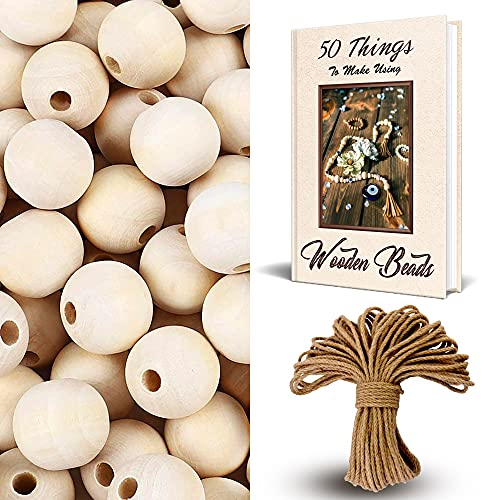 Menanok 300PCS Large Wooden Beads for Crafts, Hair Beads, Wood Bead Garland and...