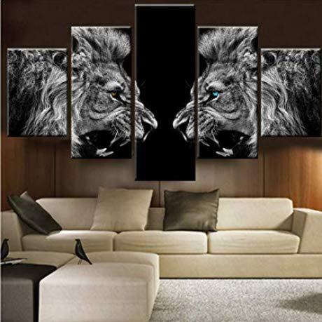 zlxzlx (Kein Rahmen) Poster Leinwand Malerei Wohnzimmer Wandkunst 5 Stücke/Stücke Tier LöwenDrucken Hd R GedrucktDekoration Bild