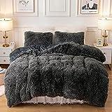 Plush Fluffy Duvet Cover Oeko-TEX Certified Luxury Ultra Soft Shaggy Crystal Velvet Bedding Set 3 Pieces(1 Duvet Cover + 2 Pillow Shams) Zipper Closure(Queen, Dark Gray)
