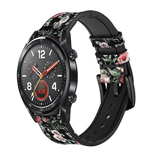 Innovedesire Vintage Rose Pattern Correa de Reloj Inteligente de Cuero y Silicona para Wristwatch Smartwatch Smart Watch Tamaño (20mm)