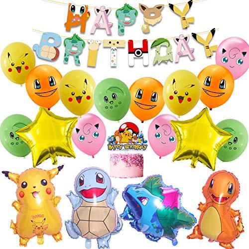 Kit de fête d'anniversaire Pokémon - Décoration d'anniversaire avec bannière Pikachu - Ballons - Décoration d'anniversaire pour enfants - Accessoire de fête