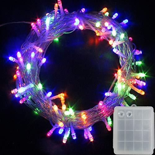 LED Batterie Lichterkette Kette Batteriebetrieben Leuchte Beleuchtung für Weihnachtsbaum, Garten, Party Innen und Außen Dekoration (Bunt, 200 LEDs)
