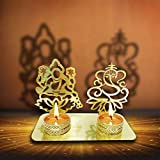 Lakshmi Ganesha ( Shubh Labh) Diwali Shadow Diya. Deepawali Traditional Decorative in Laxmi Ganesh Statue for Home/Office. Religious Tea Light Candle Holder Stand.Decoration Indian Gift Items (Gold)