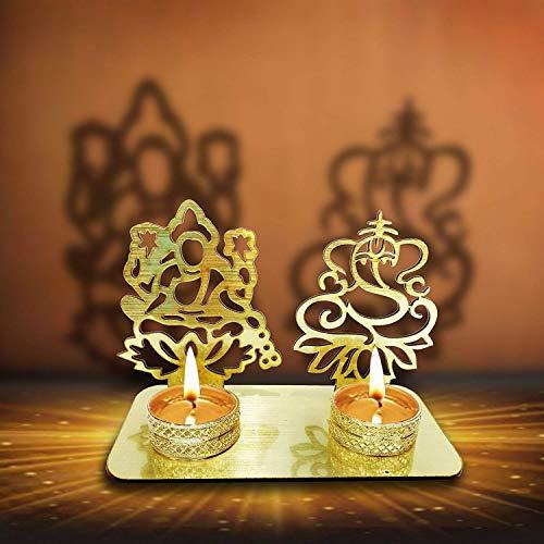 Craftsman Lakshmi Ganesha (Shubh Labh) Diwali Shadow Diya Diwali Traditional Decoration Laxmi Ganesh Statue for Home/Office Religious Tea Light Candle Holder Stand Decoration Indian Gift Items (Gold)