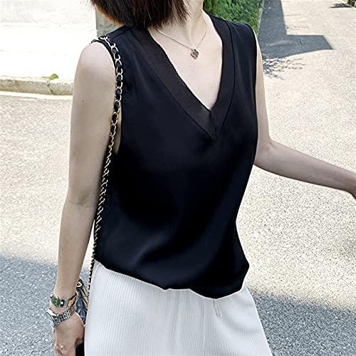 Womens Camisole Dames Zwarte Blouses Zomer Elegante Tuniek Vintage Office Plus Size Satijn Zijde Blouse Basic Chiffon Tops Shirt 2021 voor Dames Femme Shirts met