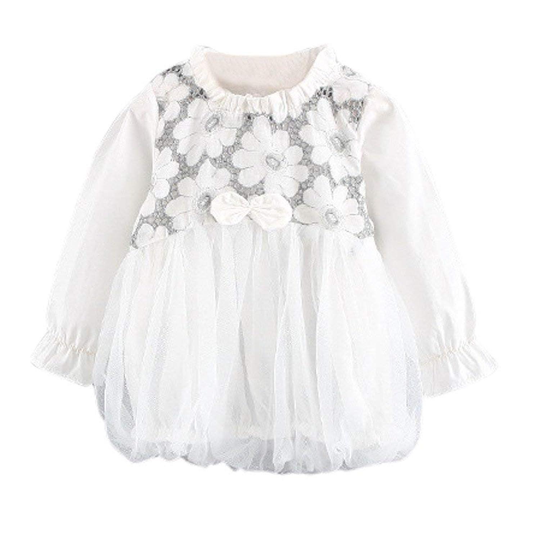 HDEC BABY ベビー服 子供服 女の子 ワンピース チュールドレス 花柄 向日葵 二色 可愛い 記念日 プレゼント 3-36ヶ月 ホワイト 100