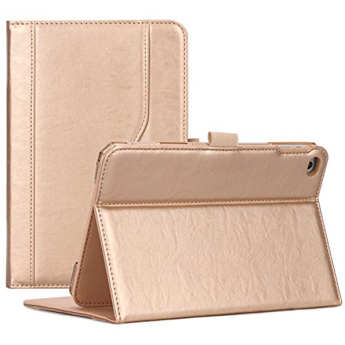 ProCase iPad Mini 4 Case - Leather Tribüne Folio Case Cover voor 2015 Apple iPad Mini 4 (4e generatie iPad Mini, Mini4), met meerdere kijkhoeken, Auto Sleep/Wake, documentenkaartvak iPad mini 4 (2015) goud