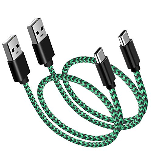 USB C Cable Short, (1ft 2-Pack) USB Type C Cable Braided Fast Charge for Samsung Galaxy Note 9 Note 8 S10 S10+ S9 S8, LG V30 V20 G6 G5, HTC 10, Perfect for Power Bank and Portable Charger (Green)