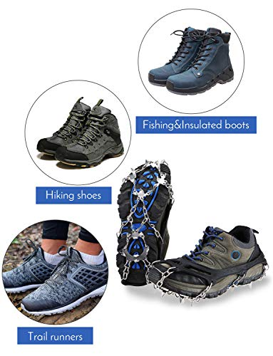 Lixada Crampones 21 Dientes Cubierta de Zapatos Antideslizante con Bolsa de Almacenamiento para Caminar Senderismo Pesca… 2