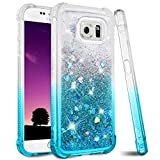 Ruky Galaxy S6 Case, Gradient Quicksand Series Glitter Bling Flowing Liquid Floating Soft TPU Bumper Cushion Protective Women Girls Phone Case for Samsung Galaxy S6 (Gradient Teal)