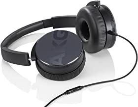 AKG Y50 Black On-Ear Headphone with In-Line One-Button Universal Remote/Microphone, Black