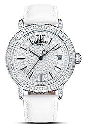 Rhinestones Waterproof Mechanical White Dress Leather Watche