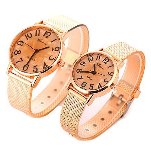 Bodhi2000 - Reloj de Pareja para Hombre y Mujer, Correa de Malla de Oro Rosa, Regalo de 2