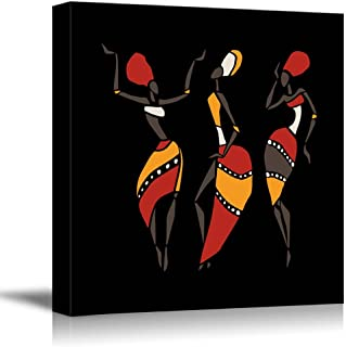 Canvas Prints Wall Art - African Dancers Silhouette Set on Black Background - 24