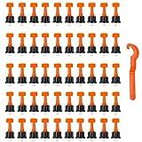 PERFETSELL 50 Pcs Niveladores de Azulejos Reutilizables Sistema Nivelacion Azulejos en Forma T Kit Nivelacion Azulejos con Un Llave Especial para Azulejos con Costura de 2 a 9 mm y Grosor de 5 a 17 mm