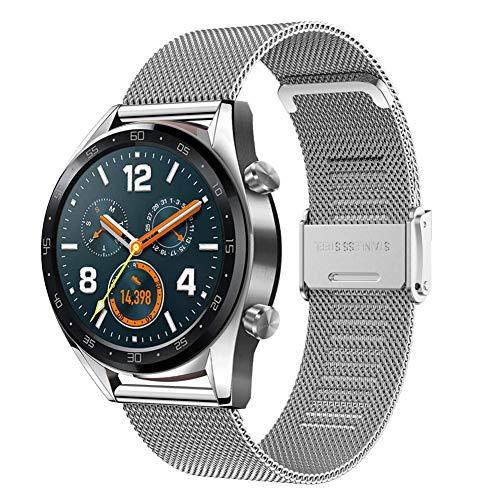 YASPARK Correa para Galaxy Watch 3 45mm/Huawei Watch GT 46mm, 22 mm Correa de Acero Inoxidable Correa de Malla Tejida para Galaxy Watch 46mm/Gear S3 Frontier/Classic/Huawei Watch GT 2 46mm