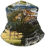 scaldacollo con animali selvatici, in pile, elastico, per uomo e donna, taglia unica