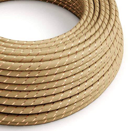creative cables Rundes, Vertigo-Textilkabel aus Jute mit Kupferfaden ERR04-5 Meter, 3x0.75