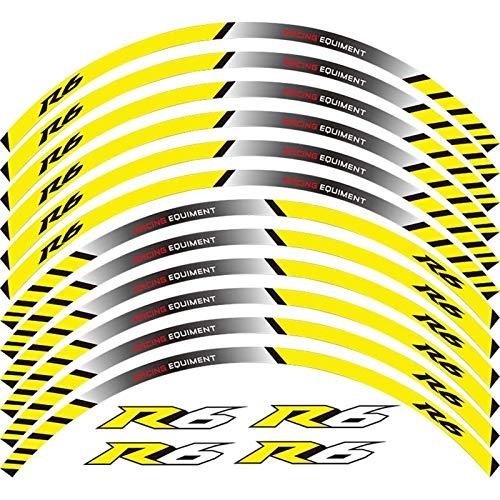 12 x Edición de Borde de Grueso Etiqueta de Rueda de Rotura de Borde Stripe Las calcomanías de la Rueda Ajustadas para Yamaha YZF R6 YZF1000 YZF-R6 (Color : A Yellow)