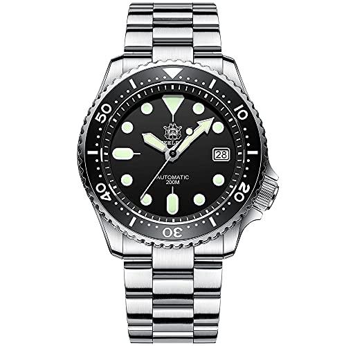 Steeldive SD1996 - Reloj de pulsera automático para hombre, color negro, con correa de acero inoxidable, cristal de zafiro, bisel de cerámica