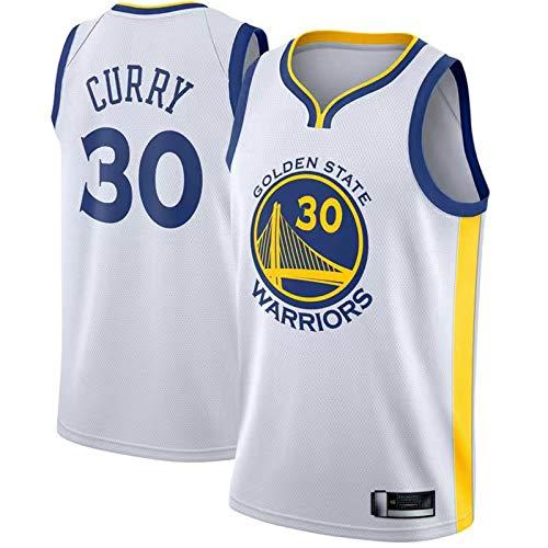 Warriors #30 Freizeit und Komfort Herren Trikot Golden Away Basketball Jersey Curry Vintage Stephen Allstar Jersey Atmungsaktives State Fabric Basketball Jersey Weste Top T-Shirt - Weiß