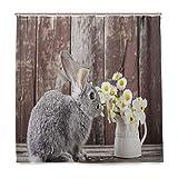 DYCBNESS Duschvorhang,Rauch gefärbtes süßes kleines Kaninchen mit Gänseblümchen rustikales hölzernes Hintergr&foto,Vorhang Langhaltig Hochwertig Bad Vorhang Wasserdichtes Design,mit Haken 180x180cm